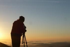 Con el  telescopio