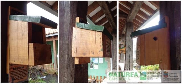 """De izquierda a derecha, caja nido para petirrojo, zorzal y mirlo (túrdidos), caja nido para murciélagos, y caja nido para carboneros y herrerillos (páridos). Creadas dentro del proyecto """"Escuela de Manejo Avanzado del Monte"""" promovida por el Ayto. de Campoo de Yuso. Más info: http://www.campoodeyuso.com/manejo-del-bosque.html"""