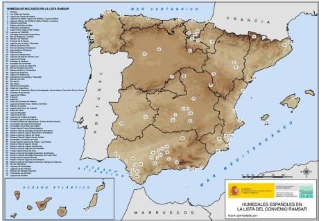 ) Mapa: humedales Ramsar en España. Fuente: www.mapama.gob.es