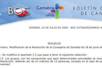 Cambios en el número máximo de participantes de las actividades de Naturea Cantabria