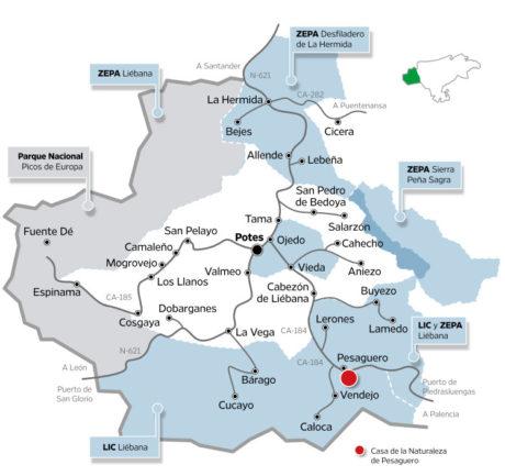 Mapa territorio Liébana