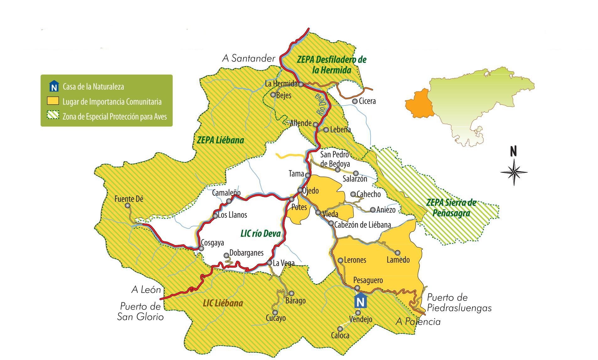 mapa liebana