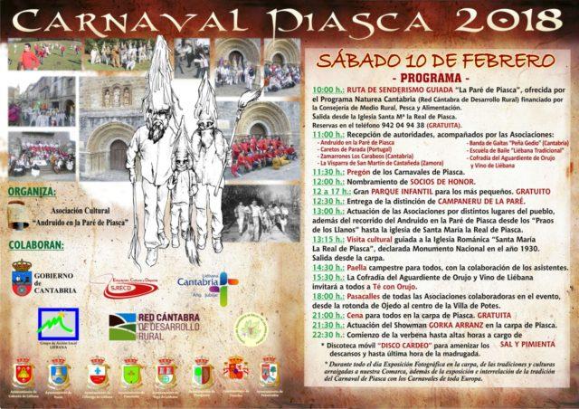 Cartel de actividades de los Zamarrones de Piasca